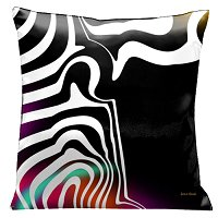 Lama Kasso Pillow #60, Striking White Graphics on Black, with Purple, Orange and Aqua Accents 18″ Square Satin Accent Pillow