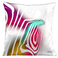 Lama Kasso Pillow #61, White on White with Aqua, Red and Gold Accents 18″ Square Satin Accent Pillow