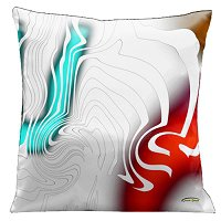 Lama Kasso Pillow #62, White on White with Aqua, Red and Gold Accents 18″ Square Satin Accent Pillow