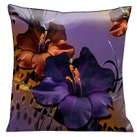 Lama Kasso Pillow #65A, Deep Purple and Copper Gladioli on Purple Background, Animal Print Accent 18″ Square Satin Accent Pillow