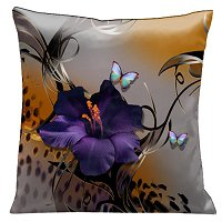 Lama Kasso Pillow #67, Butterflies and Purple Gladioli with Whimsical Black Accents on Grey and Animal Skin 18″ Square Satin Accent Pillow