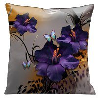 Lama Kasso Pillow #68, Butterflies and Purple Gladioli with Whimsical Black Accents on Grey and Animal Skin 18″ Square Satin Accent Pillow