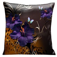 Lama Kasso Pillow #69, Purple Gladioli and Butterflies on a Rich Chocolate Background with Animal Print Accents 18″ Square Satin Accent Pillow