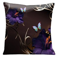 Lama Kasso Pillow #70, Purple Gladioli and Butterflies on a Rich Chocolate Background 18″ Square Satin Accent Pillow