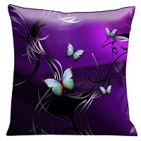 Lama Kasso Pillow #71, Aqua and Green Tropical Butterflies with Silver and Black Scrolls on a Deep Purple Background 18″x18″ Satin Accent Pillow
