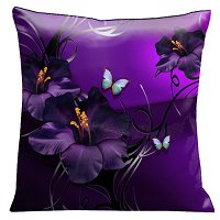 Lama Kasso Pillow #72, Aqua and Green Tropical Butterflies and Purple Gladioli with Silver and Black Scrolls on a Deep Purple Background 18″x18″ Satin Accent Pillow