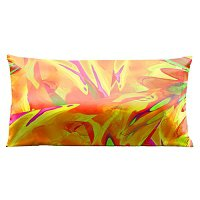 Lama Kasso Pillow #7420, Vibrant Orange Daisy 30″ Long Super-Suede Accent Pillow