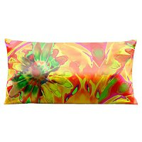 Lama Kasso Pillow #7430, Vibrant Orange Daisy 30″ Long Super-Suede Accent Pillow