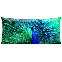 Lama Kasso Pillow #7440, Vibrant Peacock Blue and Green 30″ Long Super-Suede Accent Pillow