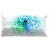 Lama Kasso Pillow #7450, Vibrant Peacock Blue and Green on White Background 30″ Long Super-Suede Accent Pillow