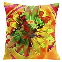 Lama Kasso Pillow #755, Vibrant Orange Daisy 18″ Square Super-Suede Accent Pillow