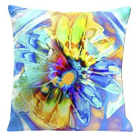 Lama Kasso Pillow #756, Beautiful Aqua and Blue Daisy 18″ Square Super-Suede Accent Pillow