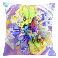 Lama Kasso Pillow #757, Soft Purple Daisy 18″ Square Super-Suede Accent Pillow