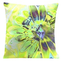 Lama Kasso Pillow #758, Light Green Daisy 18″ Square Super-Suede Accent Pillow