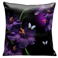 Lama Kasso Pillow #75, A Mass of Gladioli Amongst the Butterflies and Reeds on Black and Purple 18″ Square Satin Accent Pillow