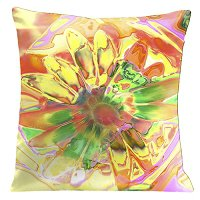 Lama Kasso Pillow #760, Light Orange Daisy 18″ Square Super-Suede Accent Pillow