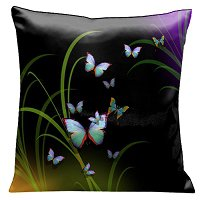 Lama Kasso Pillow #76, A Mass of Beautiful Butterflies Amongst the Reeds on Black and Purple 18″ Square Satin Accent Pillow