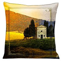 Lama Kasso Pillow #79S, Tuscan Villa Country Side 18″ Square Micro-Suede Accent Pillow