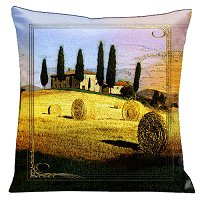 Lama Kasso Pillow #80S, Tuscan Country Side 18″ Square Micro-Suede Accent Pillow