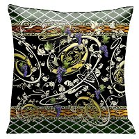 Lama Kasso Pillow #87S, Golden Grape Vines with Purple and Green accents 18″ Micro-Square Suede Accent Pillow