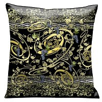 Lama Kasso Pillow #91S, Grapevine Swirls of Gold and Greens on a Black Background 18″ Square Micro-Suede Accent Pillow