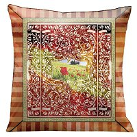 Lama Kasso Pillow #95S, Italian Kitchen Pillow with Garden Mural in Red and Orange Stripes 18″ Square Suede Accent Pillow