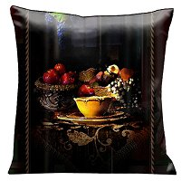 Lama Kasso Pillow #97AS, Antique Fruit Still-life on Dark Tones with A Rope Border 18″ Square Suede Accent Pillow