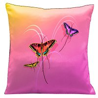 Lama Kasso Pillow #9, Butterflies with a Sunset Pink Through to Yellow Background 18″ Square Satin Accent Pillow