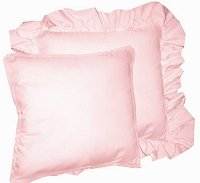 Solid Pink Colored Accent Pillow with Removable Ruffled or Corded Edge (in 16x16 or 18x18)