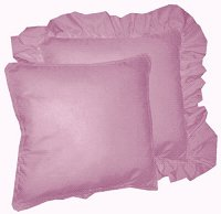 Solid Powder Plum Colored Accent Pillow with Removable Ruffled or Corded Edge (in 16x16 or 18x18)