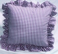 Purple Gingham Check Accent Pillow with Removable Ruffled Edge Cover (available in 16x16 or 18x18)