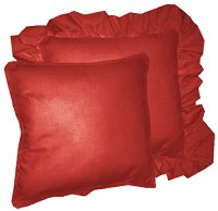 Solid Red Colored Accent Pillow with Removable Ruffled or Corded Edge (in 16x16 or 18x18)