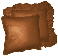 Solid Rust Colored Accent Pillow with Removable Ruffled or Corded Edge (in 16x16 or 18x18)