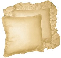 Solid Tan-Beige Colored Accent Pillow with Removable Ruffled or Corded Edge (in 16x16 or 18x18)
