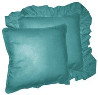 Solid Teal Colored Accent Pillow with Removable Ruffled or Corded Edge (in 16x16 or 18x18)