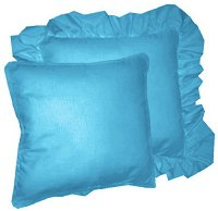Solid Turquoise Colored Accent Pillow with Removable Ruffled or Corded Edge (in 16x16 or 18x18)
