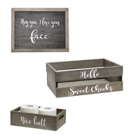 Decorative Wood Bathroom Accessory Set (Includes 1 Towel Holder, 1 Wall Frame, 1 Toilet Paper Holder) - Cheeky Themed - Large