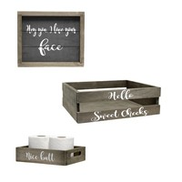 Decorative Wood Bathroom Accessory Set (Includes 1 Towel Holder, 1 Wall Frame, 1 Toilet Paper Holder) - Cheeky Themed - Small
