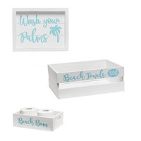 Decorative Wood Bathroom Set (Includes 1 Towel Holder, 1 Wall Frame, 1 Toilet Paper Holder) - Coastal/Beach Themed - Large