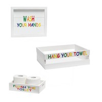 Decorative Wood Bathroom Set (Includes 1 Towel Holder, 1 Wall Frame, 1 Toilet Paper Holder) - Kids Inspired - Small