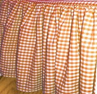 Orange Gingham Check Bedskirt (in all sizes from twin to cal-king including crib and daybeds in many skirt drop lengths)