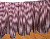 Burgundy-Wine Gingham Check Bedskirt (in all sizes from twin to cal-king including crib and daybeds in many skirt drop lengths)