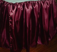 Burgundy Satin Bedskirt (in all sizes including crib and daybeds and many custom skirt drop lengths)