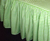 Lime Green Gingham Check Bedskirt (in all sizes from twin to cal-king including crib and daybeds in many skirt drop lengths)