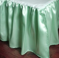 Mint-Sea Foam Satin Bedskirt-(in all sizes including crib and daybeds and many custom skirt drop lengths)