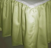 Sage Green Satin Bedskirt (in all sizes including crib and daybeds and many custom skirt drop lengths)