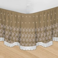 Taupe Huys Embroidery Bed Ruffle in Queen, King and Cal King (with adjustable drop length up to 16 inches)