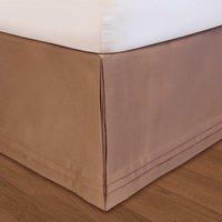 Taupe Huys Matte Satin Bed Ruffle in Queen, King and Cal King (with adjustable drop length up to 16 inches)