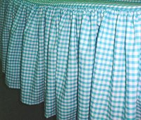 Turquoise Gingham Check Bedskirt (in all sizes from twin to cal-king including crib and daybeds in many skirt drop lengths)