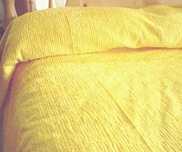 Solid Bright Yellow Ribbed Cotton Chenille Bedspread with Vintage Look (in all sizes with choice of 2 drop lengths)